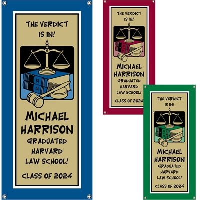 Graduation Law School Theme Banner, Vertical
