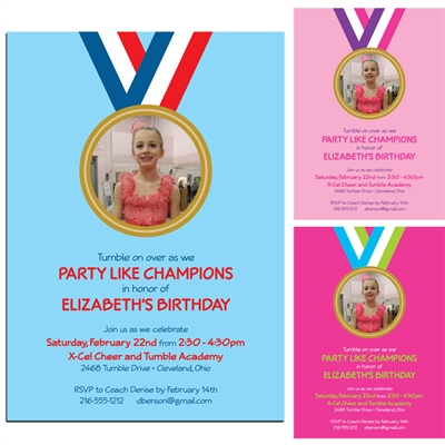 Gymnastics Gold Medal Photo Invitation