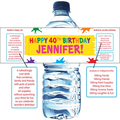 Birthday Paint Party Water Bottle Label