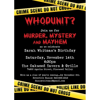 Crime Scene Theme Party Invitation