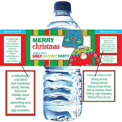 Ugly Sweater Party Water Bottle Label