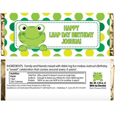 Leap Day Frog Theme Candy Bar Wrapper