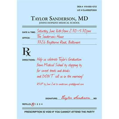 Graduation Prescription Pad Invitation