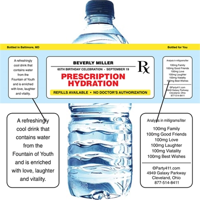Prescription to Party Theme Water Bottle Label