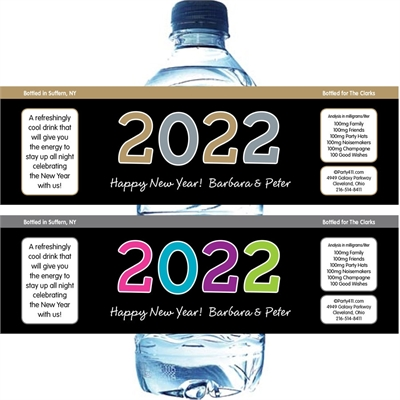 2018 New Year's Celebration Water Bottle Label