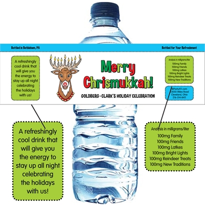 Chrismukkah Water Bottle Label