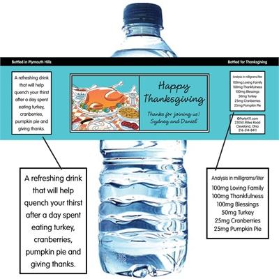 Thanksgiving Potluck Water Bottle Label