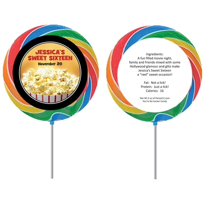 Hollywood Popcorn Theme Custom Lollipop