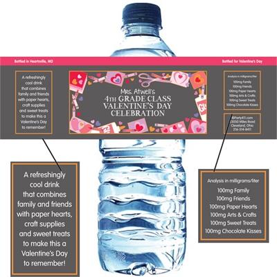 Valentine's Day Kids Theme Water Bottle Label