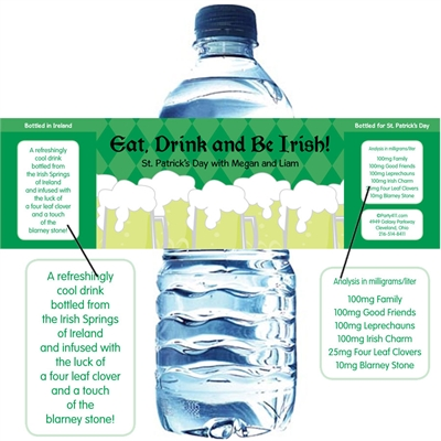St. Patrick's Day Green Beer Theme Water Bottle Labels