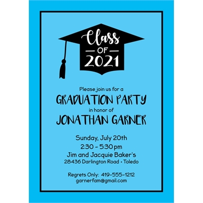 Graduation Cap Blue Invitation