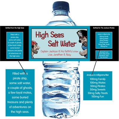 Pirate Theme Water Bottle Label