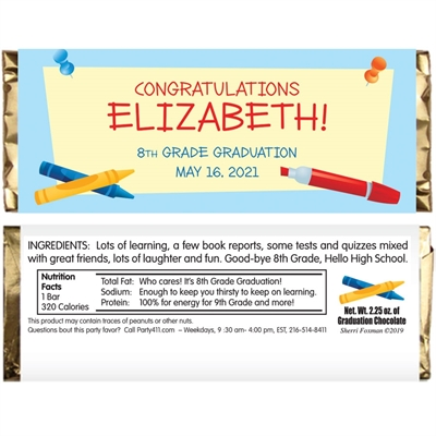 Graduation Theme Kids Candy Bar Wrapper