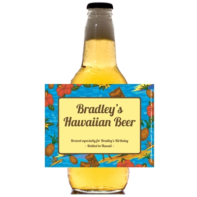 Hawaiian Shirt Theme Beer Bottle Label