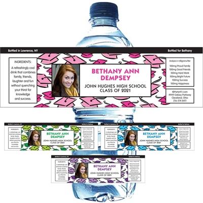 Graduation Hats Off Theme Water Bottle Label