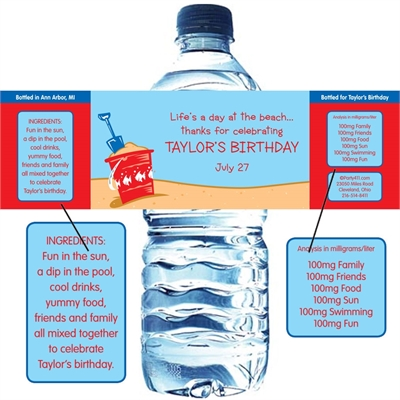 Beach Party Water Bottle Label