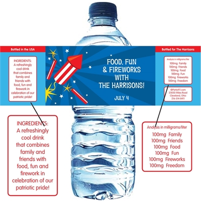 Fireworks Theme Water Bottle Label