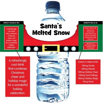 Christmas Santa Suit Water Bottle Label