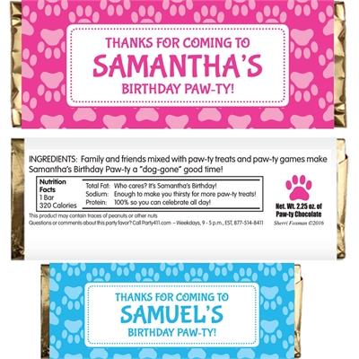 Puppy Party Theme Candy Bar Wrapper