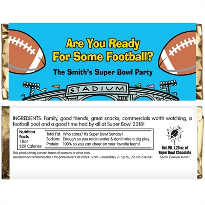 Football Stadium Theme Candy Bar Wrapper