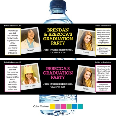Graduation Polaroid Photo Theme Water Bottle Label