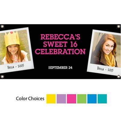Sweet 16 Polaroid Photo Theme Banner