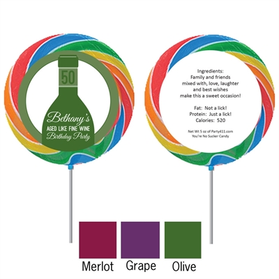 Wine Theme Custom Lollipop