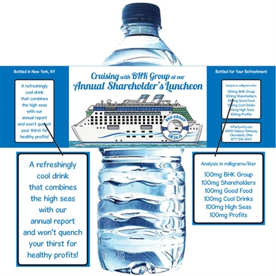 Cruise Theme Water Bottle Label