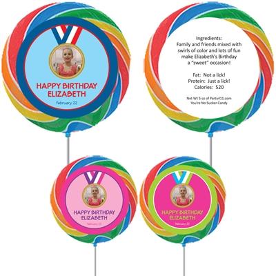Gymnastics Gold Medal Photo Custom Lollipop