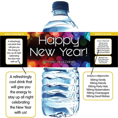 A New Year's Colors Theme Water Bottle Label