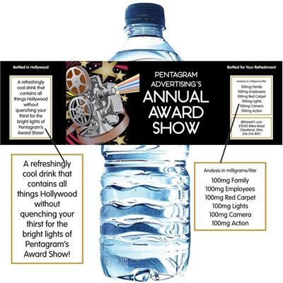 Movie Film Reel Theme Water Bottle Label