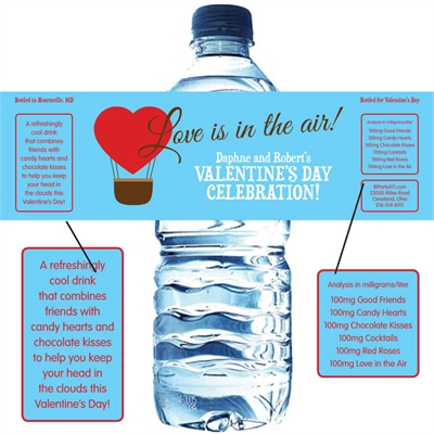 Heart Hot Air Balloon Party Water Bottle Label