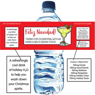 Christmas Fiesta Water Bottle Label