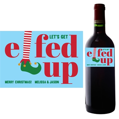 Elfed Up Christmas Party Wine Bottle Label
