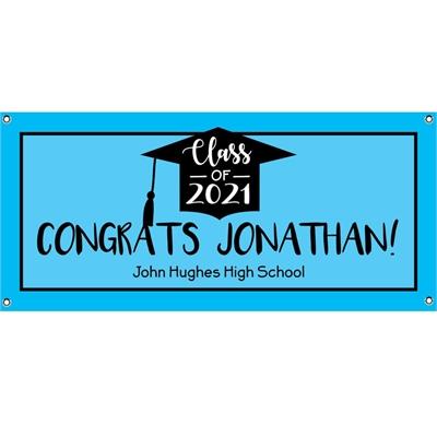 Graduation Cap Blue Theme Banner