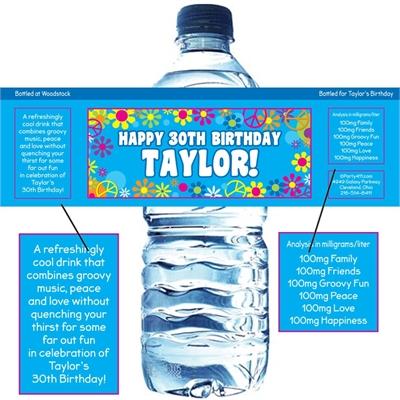 Hippie Retro Water Bottle Label