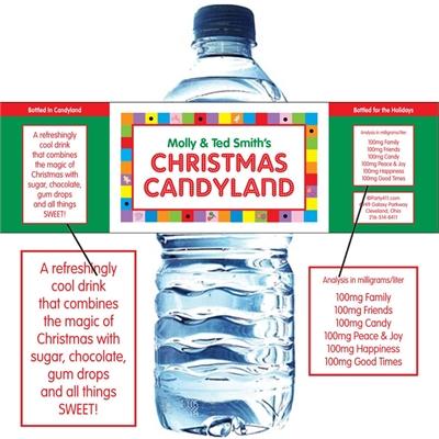 Christmas Candyland Water Bottle Label