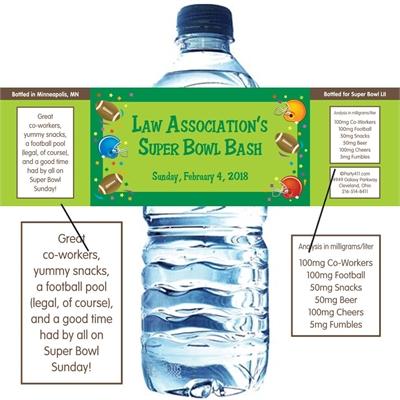 Football Gear Theme Water Bottle Label
