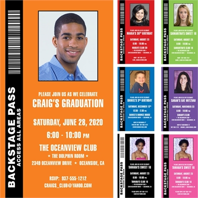 Backstage Pass Invitation, Graduation Photo