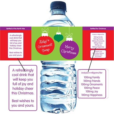 Christmas Ornaments Water Bottle Label