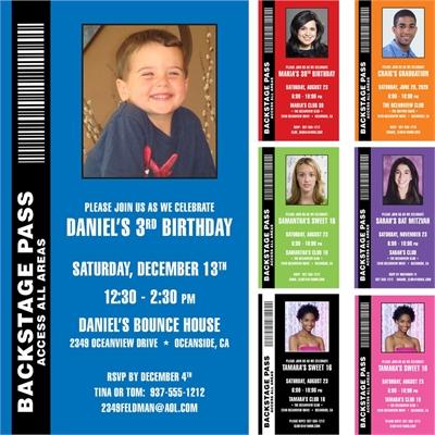 Backstage Pass Invitation, Kid's Photo