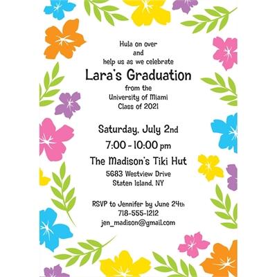 Graduation Luau Hibiscus Invitation