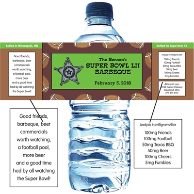 Football Texas Style Water Bottle Label