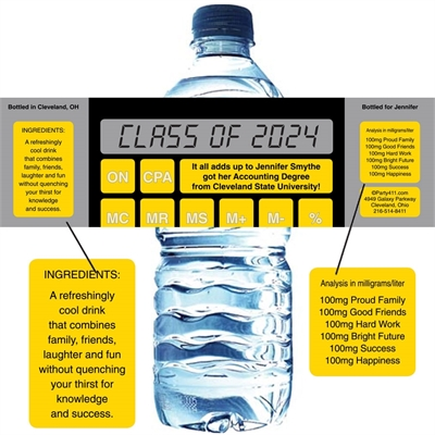 Graduation Calculator Water Bottle Label
