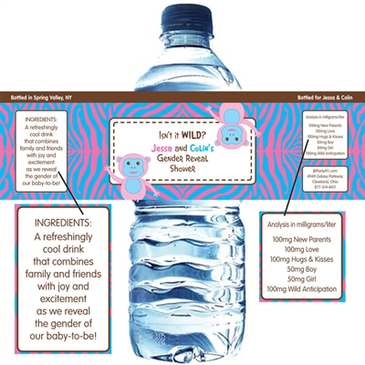Jungle Theme Gender Reveal Water Bottle Label