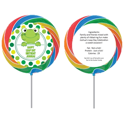 Leap Day Frog Theme Custom Lollipop