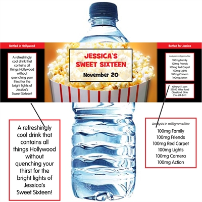 Hollywood Popcorn Theme Water Bottle Label