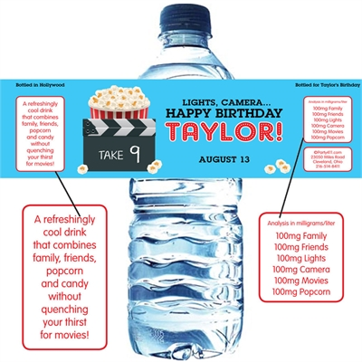 Movie Clapboard Water Bottle Label