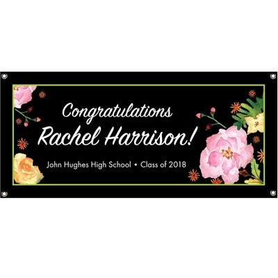 Watercolor Flowers Graduation Banner