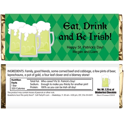 St. Patrick's Day Green Beer Theme Candy Bar Wrapper